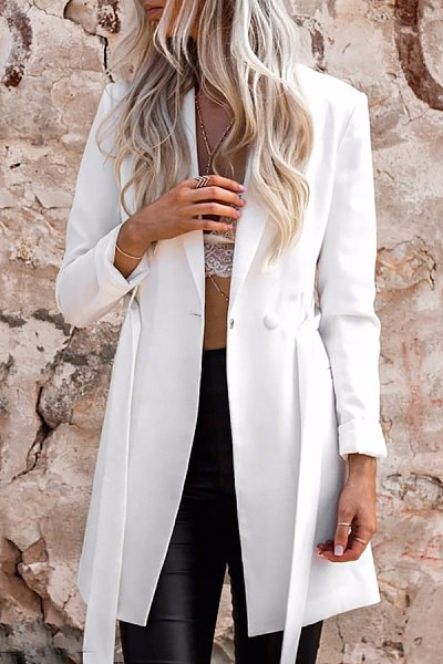 Fold Over Collar  Single Button  Plain Trench Coat