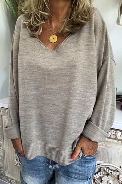 V Neck Loose-Fitting Plain Casual Sweater