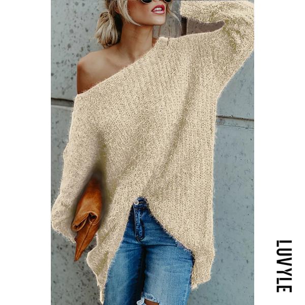 Casual Plush Long-Sleeved Shoulder-Shoulder Solid Color Sweater