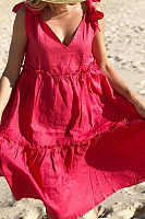 Sexy V Neck Bow Sleeveless Casual Dresses