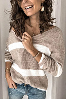 Women's Casual V-Neck Striped Sweater