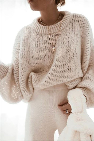 Casual Round Neck Solid Color Puff Sleeve Loose Sweater