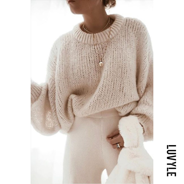 Casual Round Neck Solid Color Puff Sleeve Loose Sweater - from $34.00
