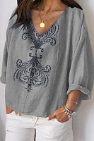 V Neck Loose-Fitting Printed Casual T-Shirts