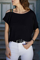 Irregular Collar Plain T-Shirts