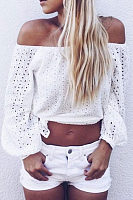 Off Shoulder  Exposed Navel  Hollow Out Plain  Blouses