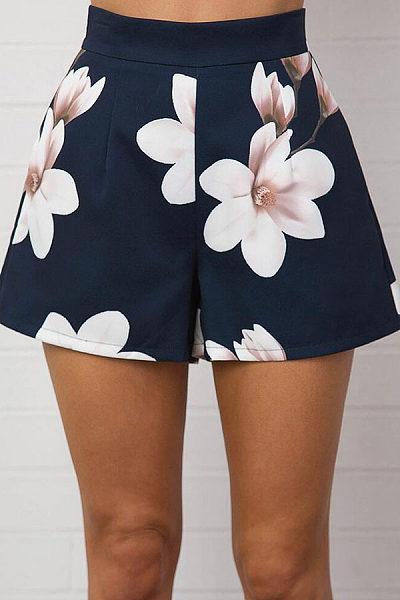 Zipper  Floral Printed Pants