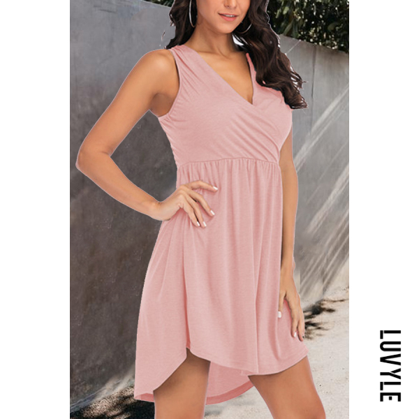 Pink V Neck Plain Sleeveless Skater Dresses Pink V Neck Plain Sleeveless Skater Dresses