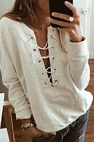Tie Collar  Plain Casual Sweatshirts