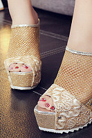 Lace  High Heeled  Lace  Peep Toe  Outdoor Wedge Sandals