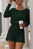 Women Drawstring Plain Playsuits