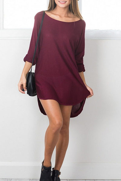 Asymmetric Hem  Plain  Long Sleeve Casual Dresses