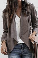 Lapel Solid Color Deerskin Casual Jacket