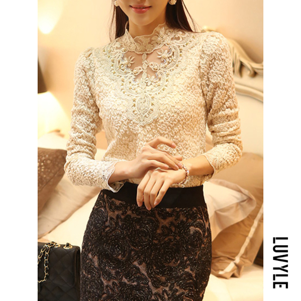 Beige Band Collar Beading Lace Hollow Out Long Sleeve T-Shirt Beige Band Collar Beading Lace Hollow Out Long Sleeve T-Shirt