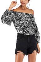 Open Shoulder  Leopard  Blouses