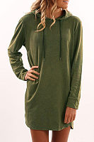 Hooded  Drawstring  Plain  Long Sleeve Casual Dresses