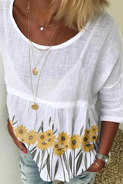 Printed Round Neck Loose T-shirt