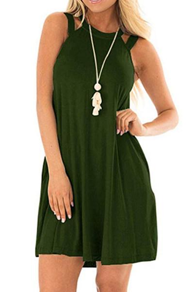 Round Neck  Cutout  Plain  Sleeveless Casual Dresses