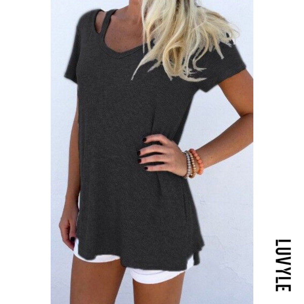Black Round Neck Asymmetric Hem Plain T-Shirts Black Round Neck Asymmetric Hem Plain T-Shirts