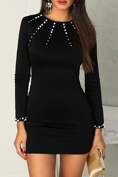 Round Neck Long Sleeve Beading Plain Dress