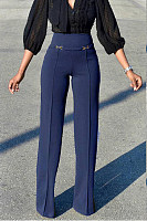 Plain  Casual Fitted  Pants