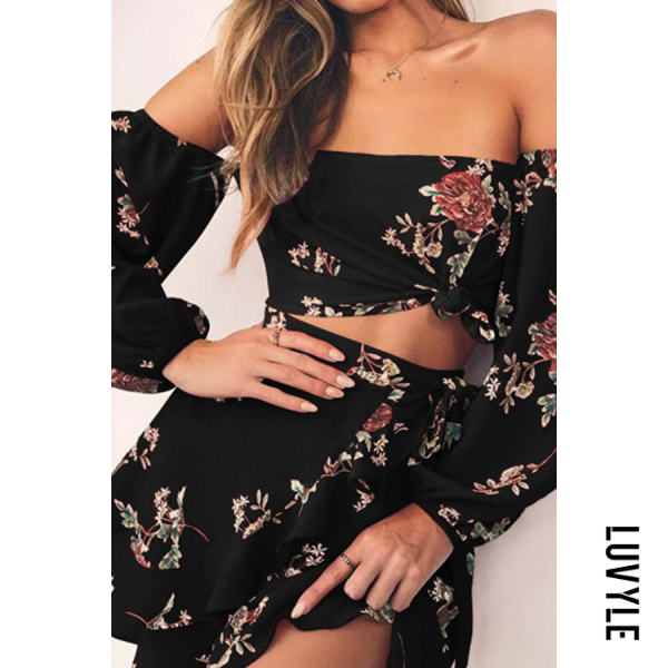 Black Off Shoulder Printed Skater Dresses Black Off Shoulder Printed Skater Dresses