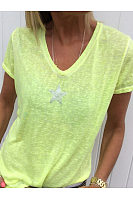 Star Printed V Neck Short Sleeve Casual T-Shirts