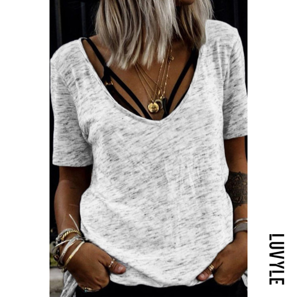 Gray V Neck Casual T-Shirts Gray V Neck Casual T-Shirts