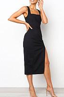 Spaghetti Strap  Slit  Plain  Sleeveless Bodycon Dresses