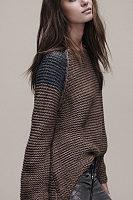 Round Neck  Patchwork  Raglan Sleeve Sweaters