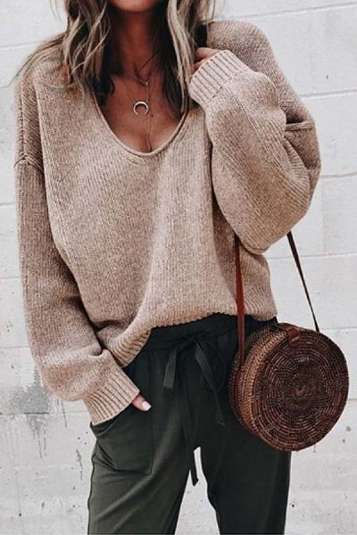 Casual  Plain  Long Sleeve Sweaters