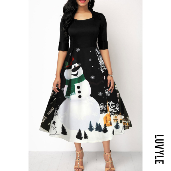 Christmas Printed Round Neck Party Dress