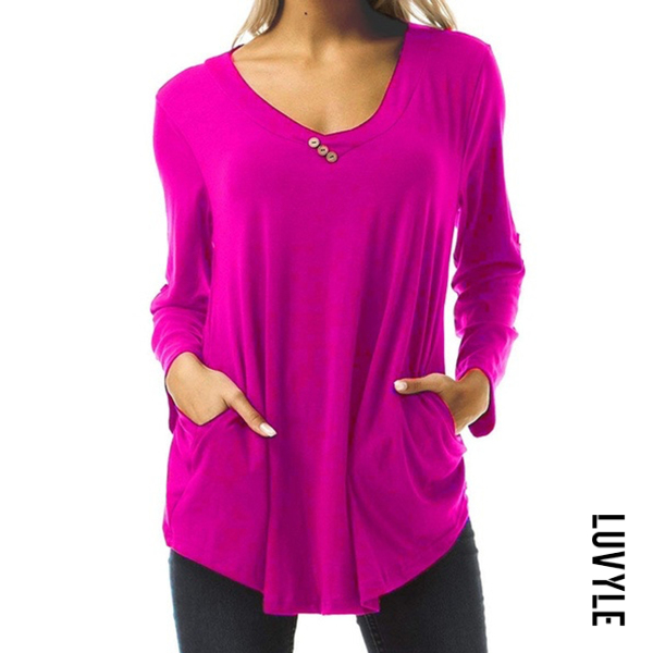 Rose Buttoned Long Sleeve T-Shirt Rose Buttoned Long Sleeve T-Shirt
