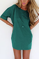 Roll Up Sleeve Plain Casual Dresses