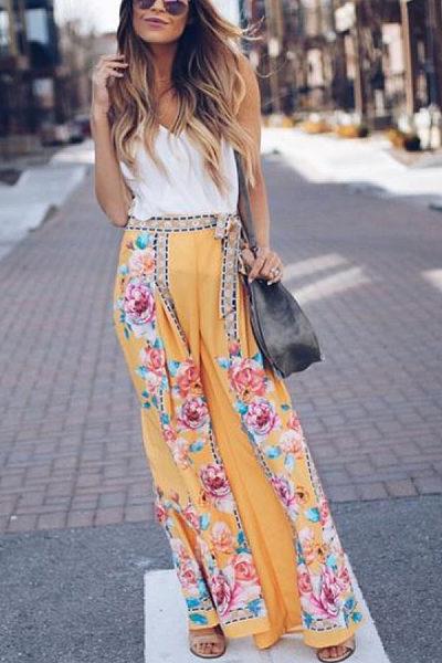 Belt  Floral Printed Pants