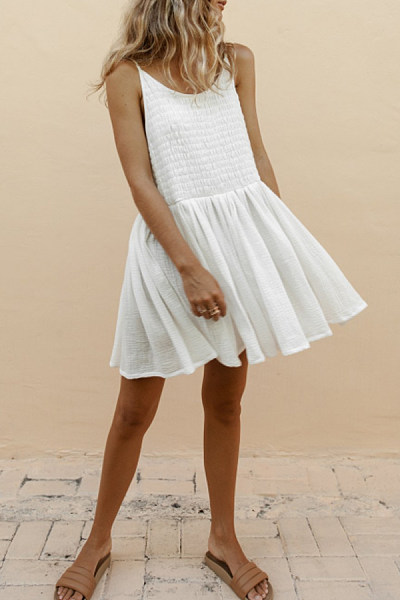 Spaghetti Strap  Backless  Plain  Sleeveless Casual Dresses