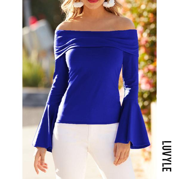 Blue Off Shoulder Plain Bell Sleeve T-Shirts Blue Off Shoulder Plain Bell Sleeve T-Shirts