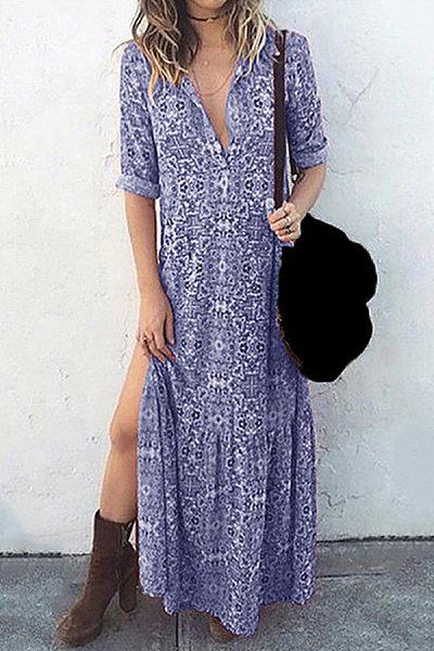 Vintage Printed Long Sleeve Split Dress in blue and white