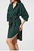 Turn Down Collar Belt Plain Casual Dress