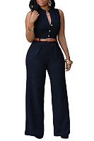 V Neck  Single Breasted  Plain  Sleeveless Jumpsuits