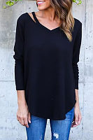V Neck  Asymmetric Hem Cutout  Plain T-Shirts