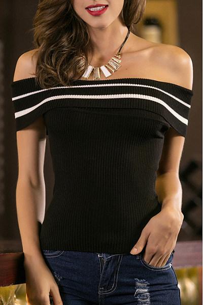 Black Knit Off Shoulder Stripes T-shirt
