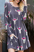 Round Neck  Animal Prints Casual Dresses