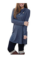 Fold-Over Collar Plain Shift Dress