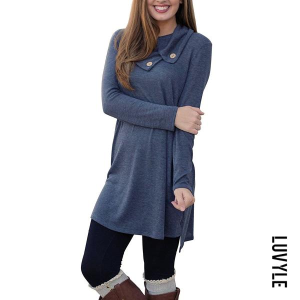 Dark Blue Fold-Over Collar Plain Shift Dress Dark Blue Fold-Over Collar Plain Shift Dress