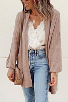 Casual Plain Pockets Cardigan