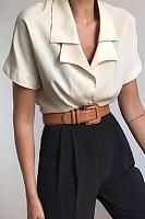 Brief Pure Color Lapel Short Sleeve Shirt