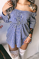 Open Shoulder  Loose Fitting  Belt  Stripes  Long Sleeve Casual Dresses