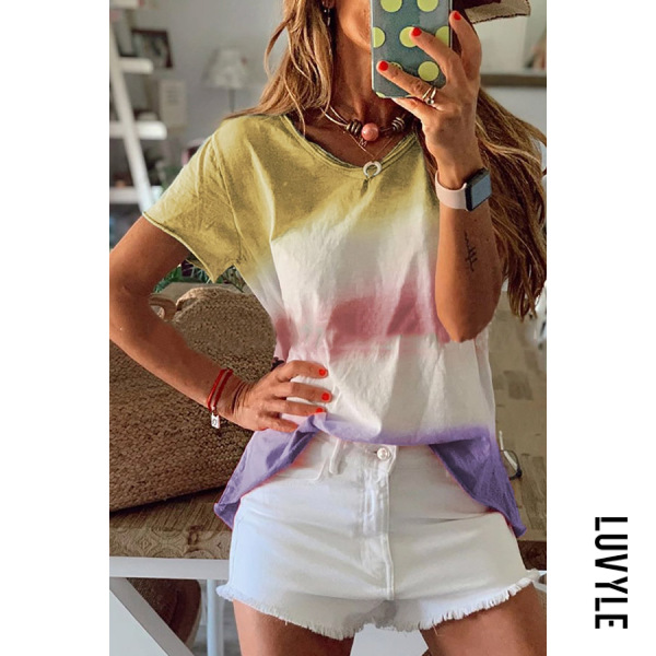 Khaki Athleisure Round Neck Short Sleeve Gradient Loose Top T Shirt Khaki Athleisure Round Neck Short Sleeve Gradient Loose Top T Shirt