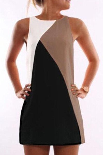 Round Neck Color Block Shift Dress